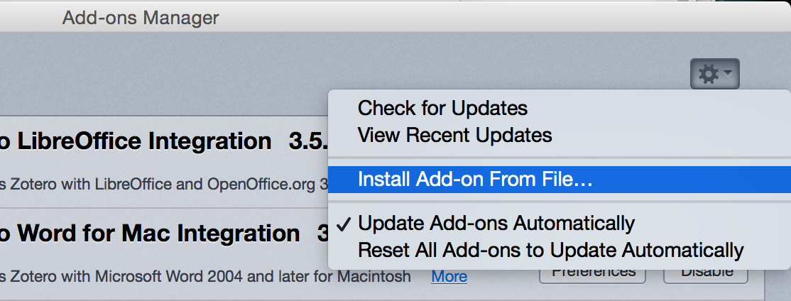 The Install Add-on From File menu option.