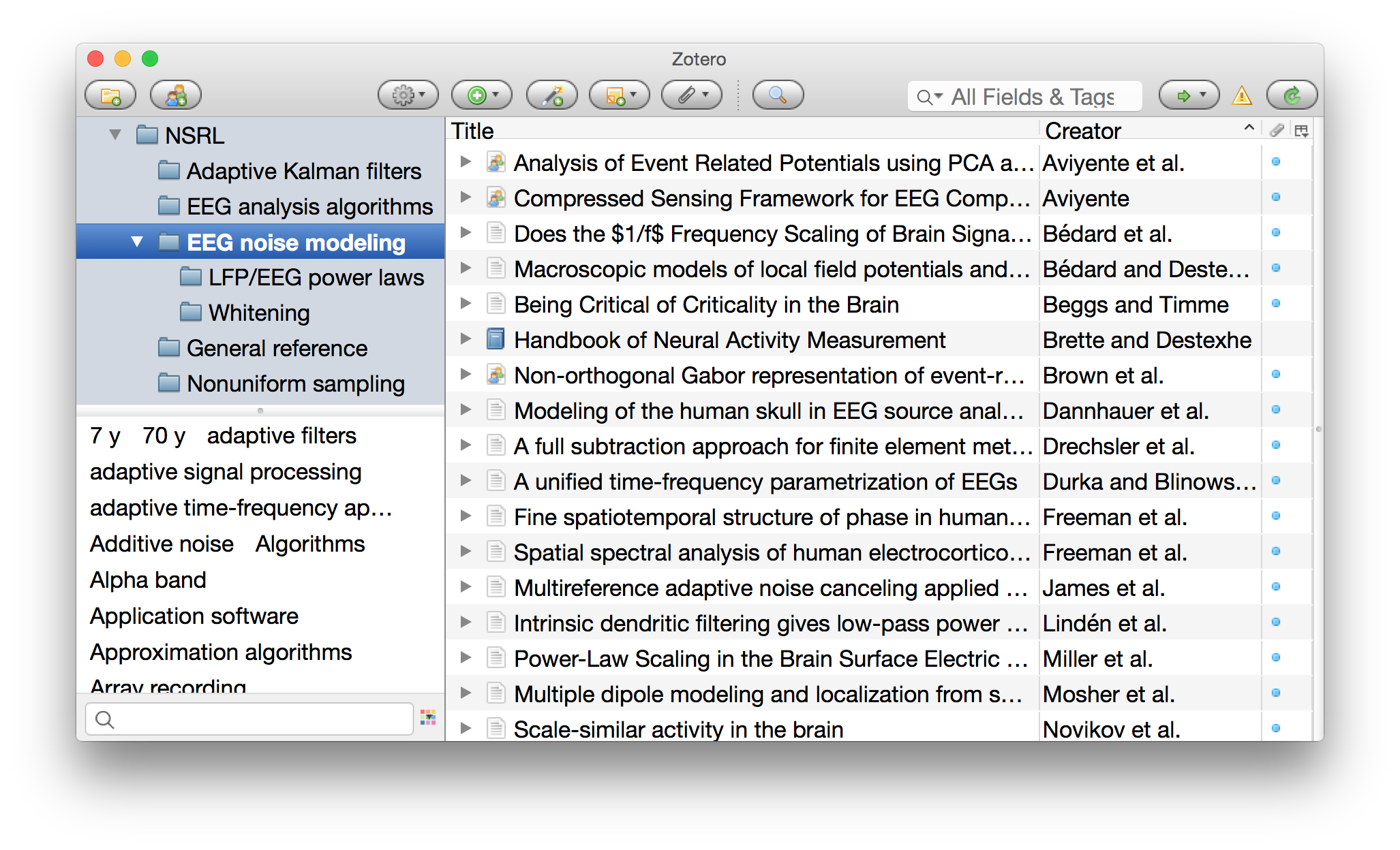 The Zotero interface.